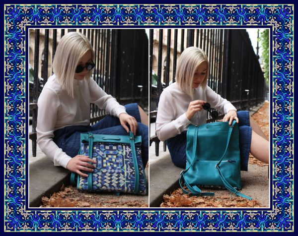 turquoise fashion revolution collab collection capsule artist art fashion mode team work hand made germany france friend ship proverbe spruch tasche clutch pochette wearable talisman brown green grün ethno