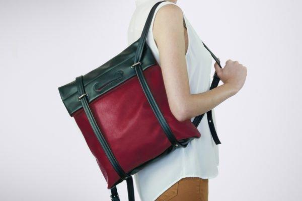 eco fashion red street wear colour blocking